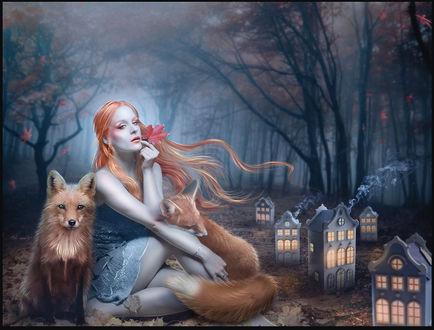 Фото Девушка с лисами сидит на земле перед маленькими домами, by 1simplemanips1 on DeviantArt