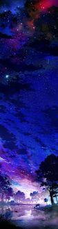 Фото Олень у водоема под ночным звездным небом