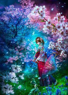 Фото Девушка с зонтом стоит в окружении весенних деревьев, Shu-littlebit Art