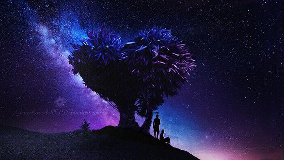 Фото Два парня у дерева на фоне ночного звездного неба, by GeneRazART