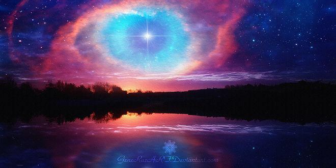 Фото Розовое сияние на ночном небе, by GeneRazART