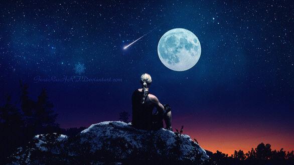 Фото Девушка смотрит на полную луну, by GeneRazART