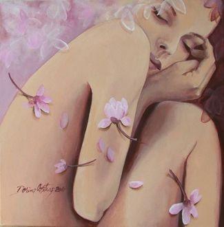 Фото Обнаженная девушка с закрытыми глазами в розовых цветах, художница Dorina Costras