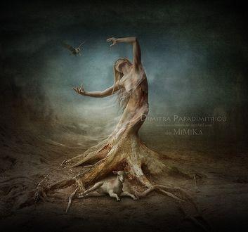 Фото Полуобнаженная девушка в образе дерева, by Dimi Papadimitriou