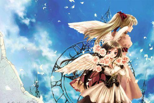 Фото Анимешные девушки - ангелы с цветами на фоне неба облаков и летающих перьев