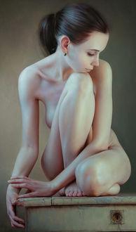 Фото Обнаженная девушка сидит на тумбе, by Andrey Belichenko & Mariya Boukhtiyarova Belichenko