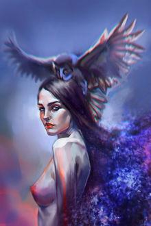 Фото Обнаженная девушка с совой на голове, by OksanaDev