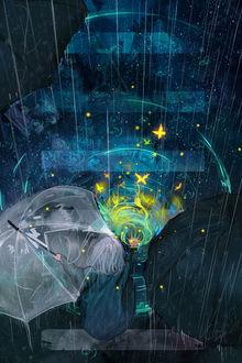 Фото Девушки с зонтом сидят у воды перед яркими бабочками, by Clo sz