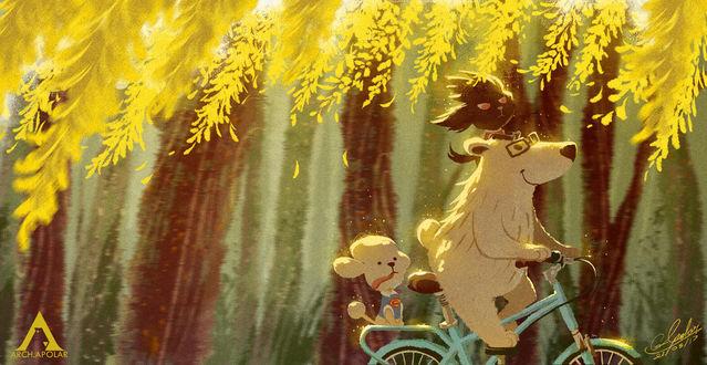 Фото Медведь с птичкой на голове и щенок едут на велосипеде