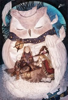 Фото Сова греет под своими крыльями девушку и парня