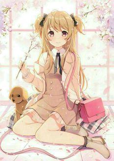 Фото Девушка в школьной форме держит в руках веточку сакуры, рядом с ней лежит игрушка и розовый рюкзак
