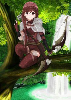 Фото Девушка сидит на ветке дерева, в руках у нее лук, сзади находится водопад