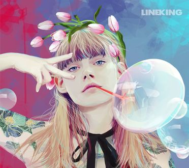 Фото Девушка в розовых тюльпанах с пузырем у лица, by imlineking