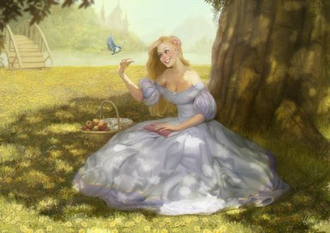 Фото Девушка в пышном платье сидит у дерева с бабочкой над рукой, by Caroline Gariba