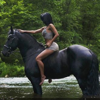 Фото Девушка на черной лошади