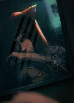 Фото Фото девушки с лисьими ушками в разбитой рамочке