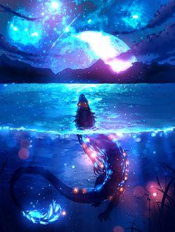 Фото Водный дракон смотрит на ночное небо, by ryky