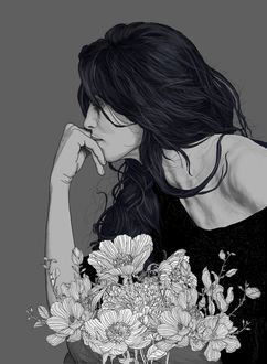 Фото Задумчивая девушка склонилась к цветам, by Pedro Tapa