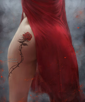 Фото Девушка с тату в виде красной розы на попе, by NanFe