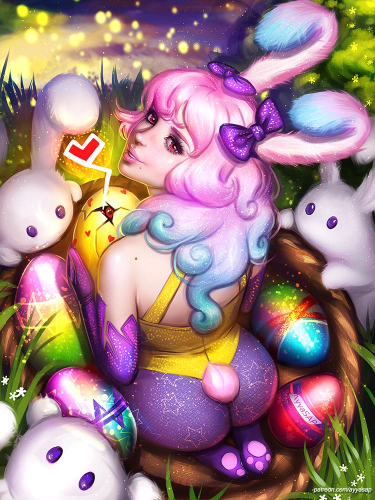 Фото Happy Easter / Счастливой Пасхи, девушка в образе кролика в окружении яиц и кроликов, by AyyaSAP