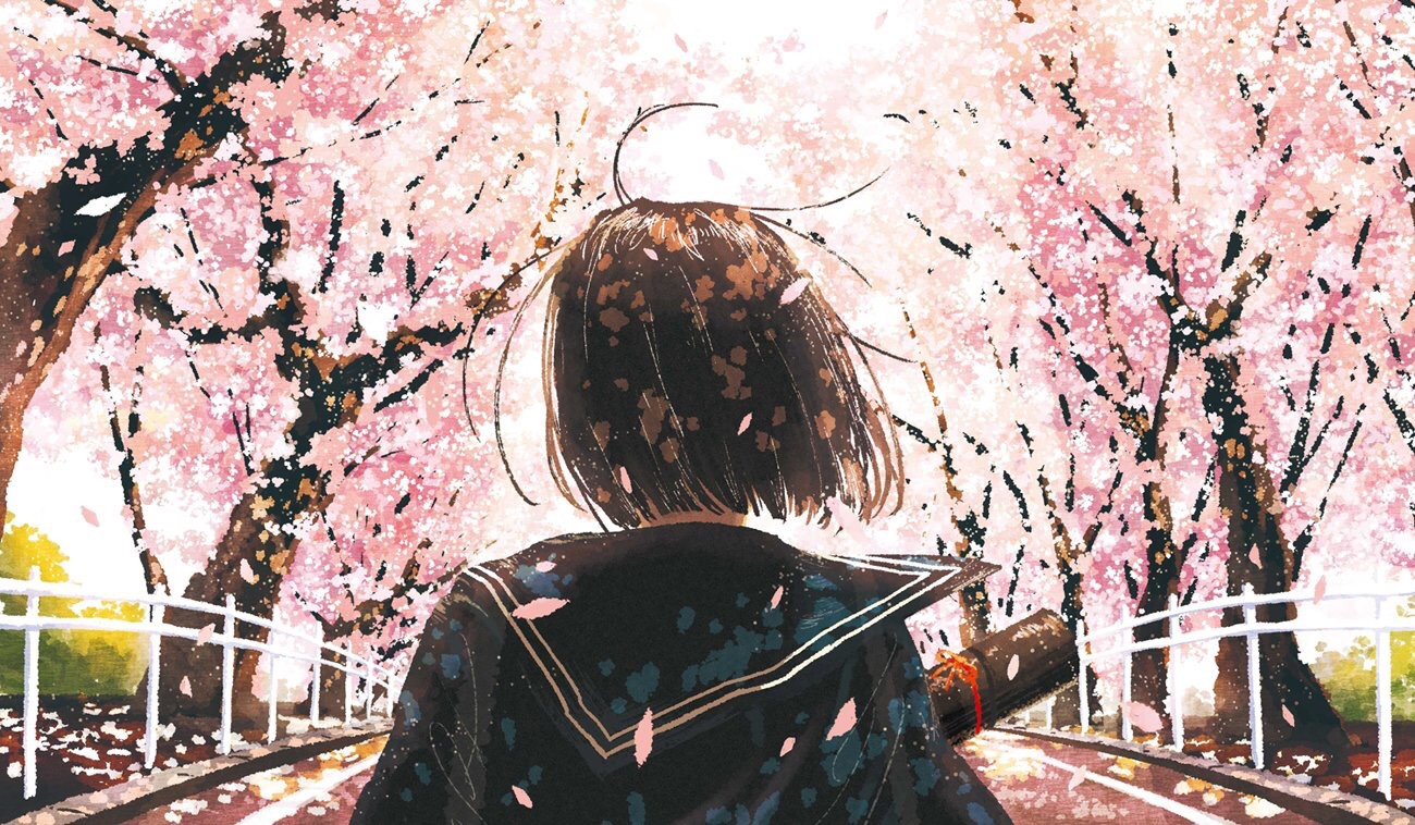 Фото Девочка стоит к нам спиной на дороге с цветущими деревьями