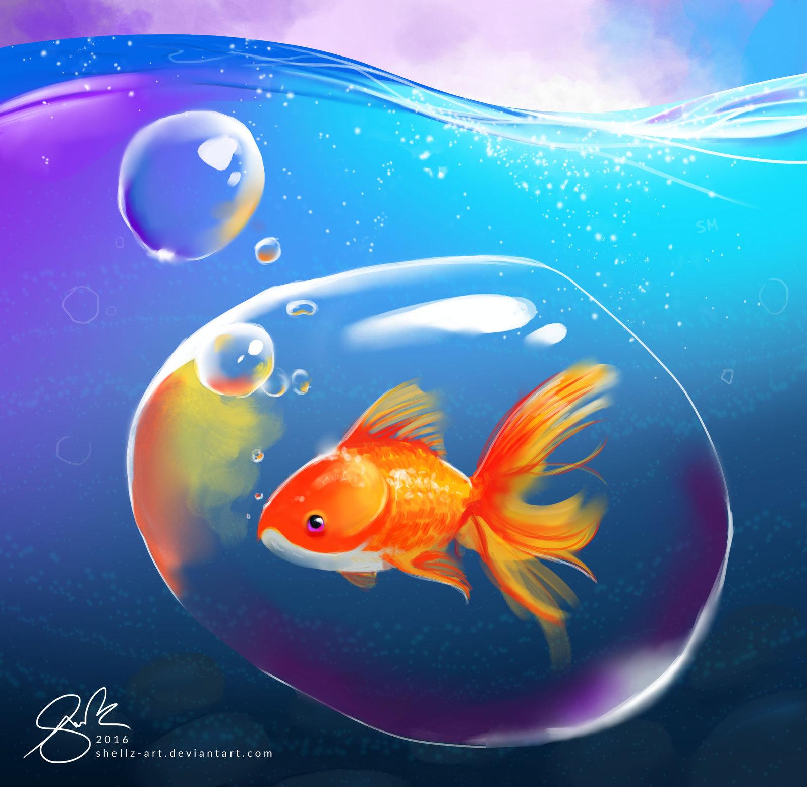 Фото Золотая рыбка в пузыре под водой, by Shellz