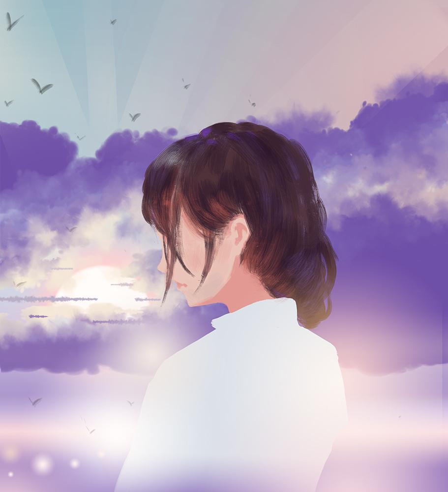 Фото Девушка в белой рубашке на фоне облачного неба