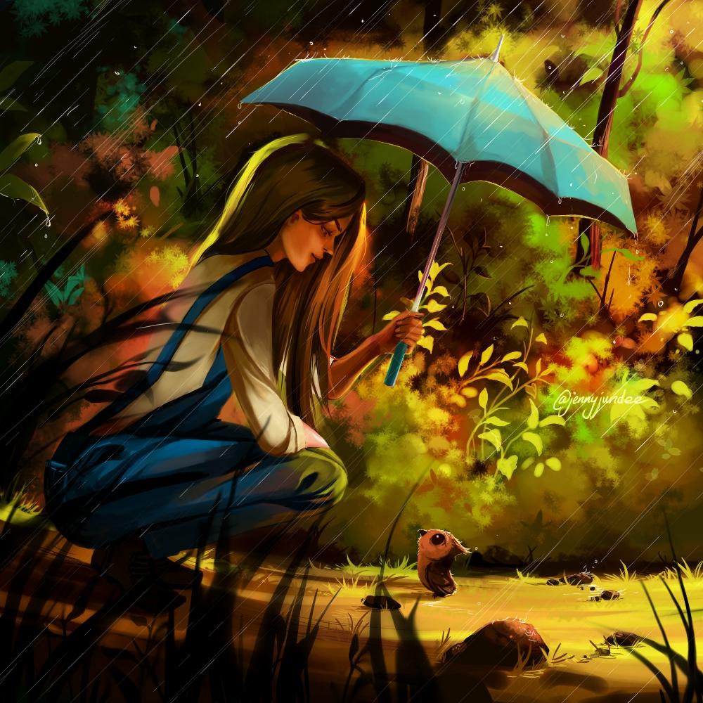 Фото Девушка держит зонтик над совенком укрывая его от дождя, by Jyundee