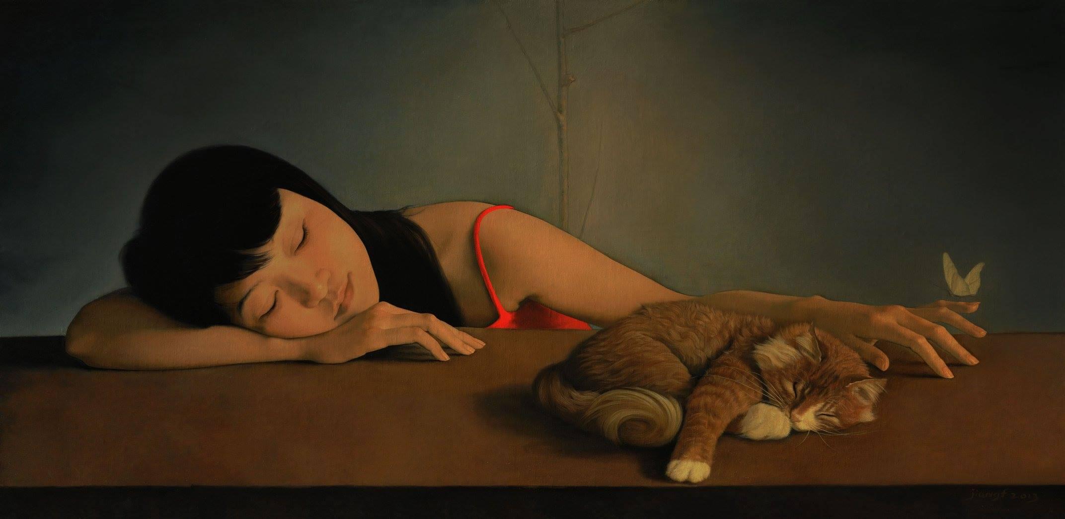 Картинка девушка спит за столом