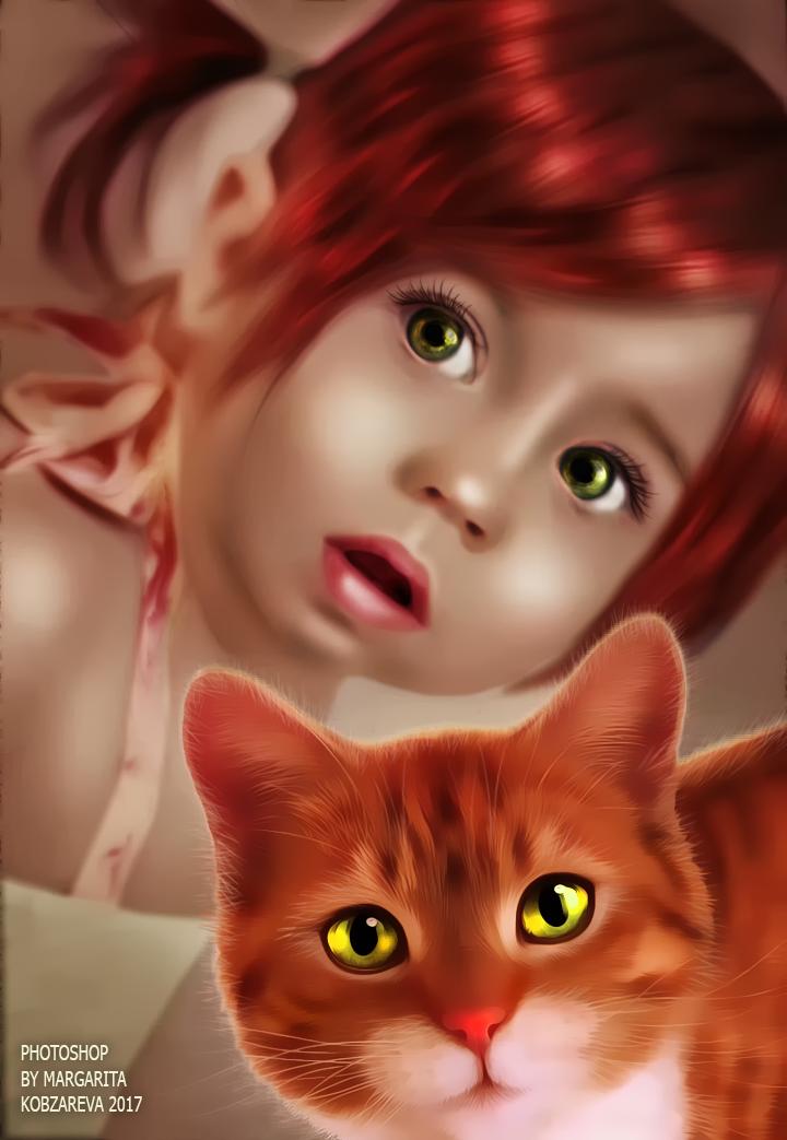 Фото Портрет большеглазой девочки с рыжим котом, by Margarita Kobzareva