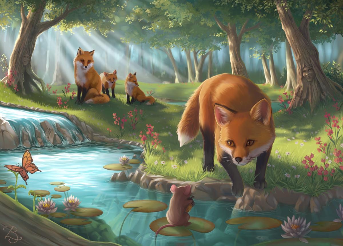 Фото Одна лиса смотрит на мышонка, который сидит на листке лотоса и держит в лапках желудь, вдали у дерева сидят другие лисы, by Selven7
