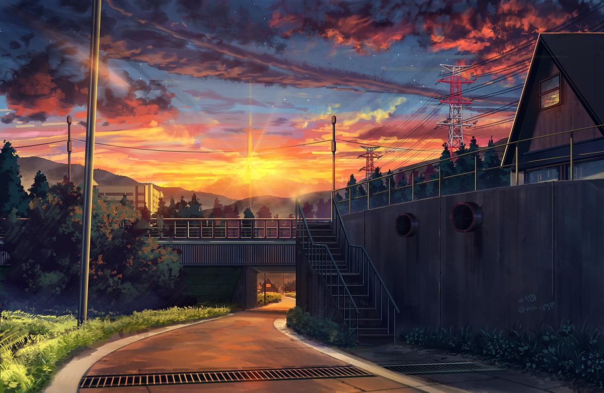 Фото Дорога к яркому закату