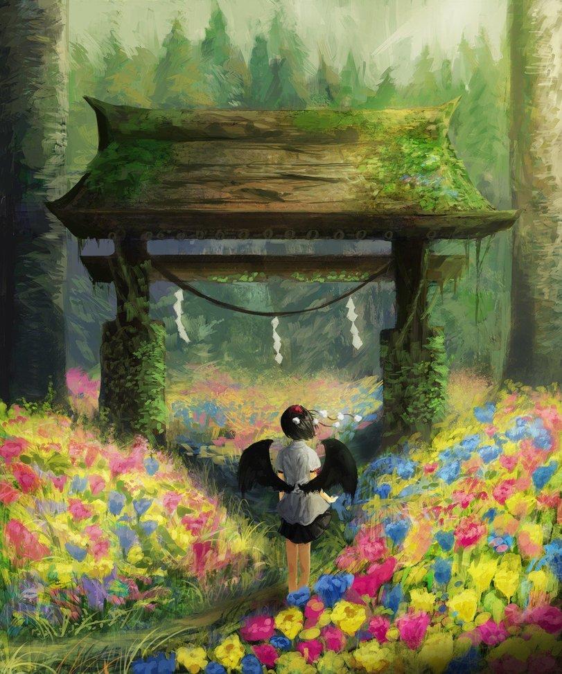 Фото Ая Сямэймару / Aya Shameimaru из аниме Мечты летних дней / Touhou Niji Sousaku Doujin Anime: Musou Kakyou