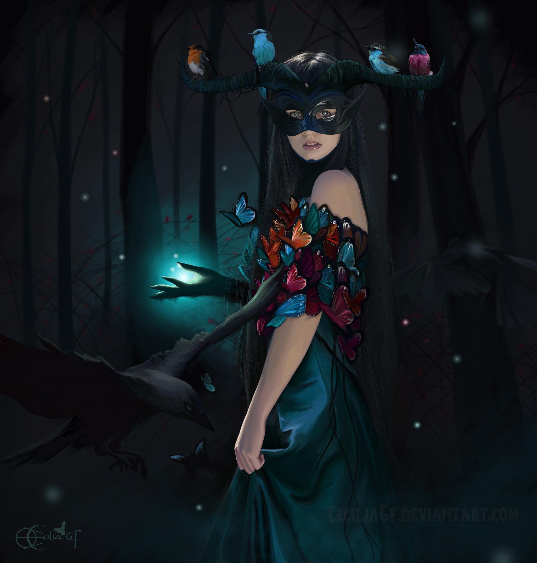 Фото Девушка с рогами на голове, на которых сидят птички и с бабочками на ней стоит в волшебном лесу, by Cecilia G. F