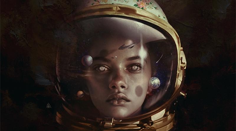 Фото Девушка космонавт в шлеме, внутри которого планеты