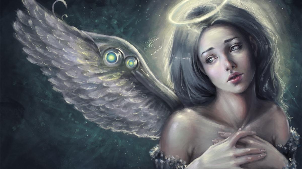 Фото Грустная девушка - ангел с ореолом над головой, by AyyaSAP