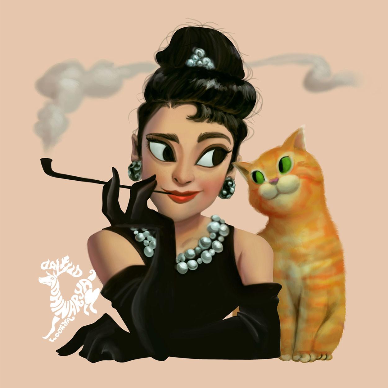 Фото Audrey Hepburn / Одри Хепберн с рыжим котом, Art by David Ardinaryas Lojaya