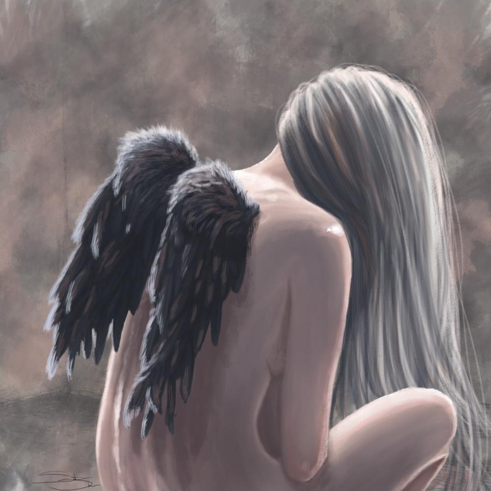 Грустная девушка-ангел картинки