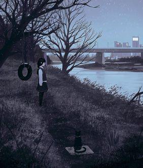 Фото Девушка стоит у дерева с качелей, перед рекой, а поодаль от нее сидит кот, by GUWEIZ