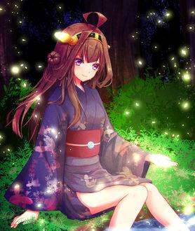 Фото Девушка в кимоно сидит на поляне, вокруг сверкающих мотыльков, by Neko Maaro