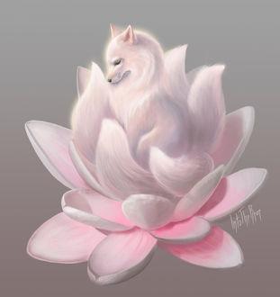 Фото Девятихвостая лисица в цветке лотоса, by IntoTheBear