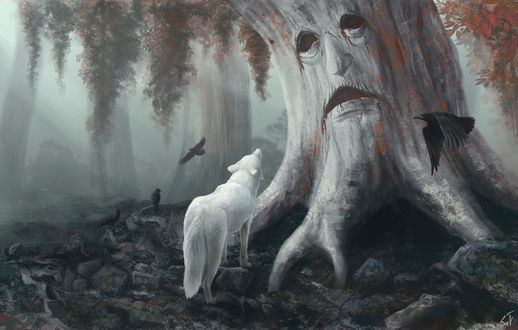 Фото Белый волк смотрит на дерево с грустным лицом, арт по сериалу Game of Thrones / Игра престолов, by IntoTheBear