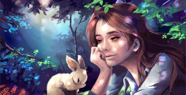 Фото Девушка с каштановыми волосами смотрит на белого кролика, by Jyundee