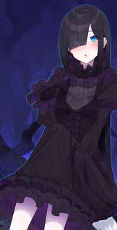 Фото Девушка в черной одежде с голубыми глазами, by nezumi doshi