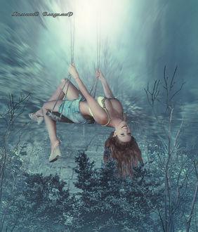 Фото Девушка качается на качелях в бирюзовом лесу, by Милышев Владимир