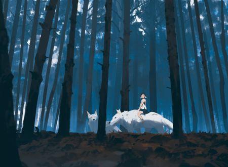 Фото Сан / San катается на волках из аниме Принцесса Мононокэ / Mononoke Hime