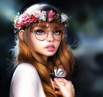 Фото Девушка в очках и венке из цветов, с бабочкой на руке, by Rene Gorecki