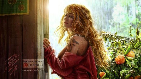 Фото Девушка в розовой кофточке с татуировкой на плече стоит под летним дождем, by zippi44