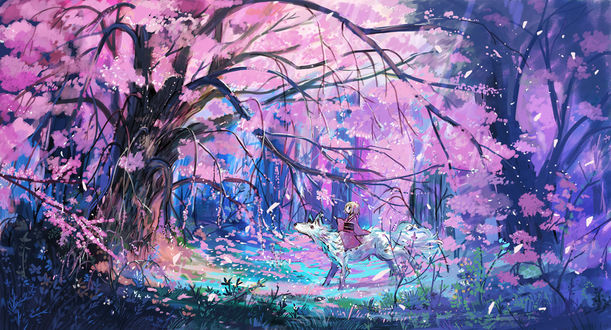 Фото Девушка на волке в сказочном весеннем лесу