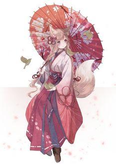 Фото Девушка - лисичка с китайским зонтом в руках